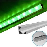 Profil aluminiu,pentru banda LED, aparent, de colt, 2m